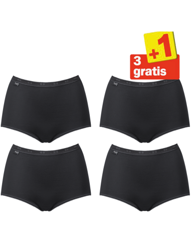 Sloggi Dames Basic Maxi Slip Black 4Pack