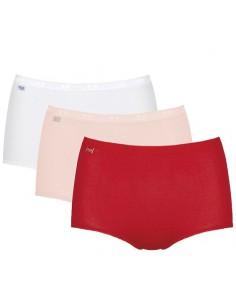 Sloggi Basic Maxi Slip 3Pack Red Pink White 2+1 Gratis